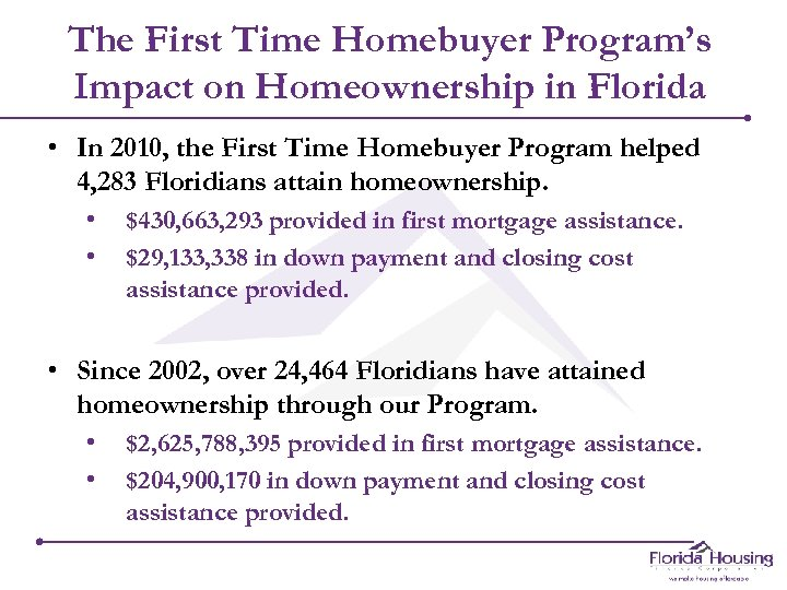 The First Time Homebuyer Program's Impact on Homeownership in Florida • In 2010, the