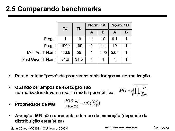 """2. 5 Comparando benchmarks • Para eliminar """"peso"""" de programas mais longos normalização •"""