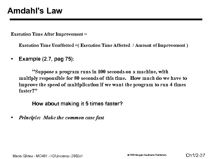 Amdahl's Law Execution Time After Improvement = Execution Time Unaffected +( Execution Time Affected