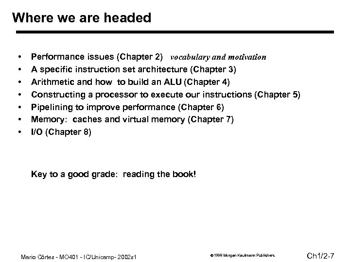 Where we are headed • • Performance issues (Chapter 2) vocabulary and motivation A