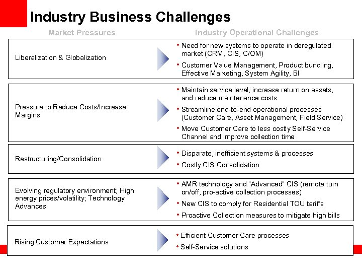 Industry Business Challenges Market Pressures Industry Operational Challenges • Need for new systems to