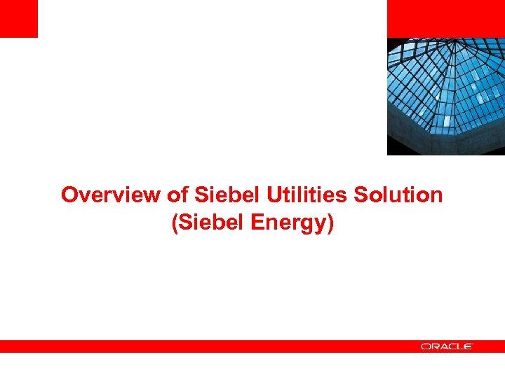 Overview of Siebel Utilities Solution (Siebel Energy)