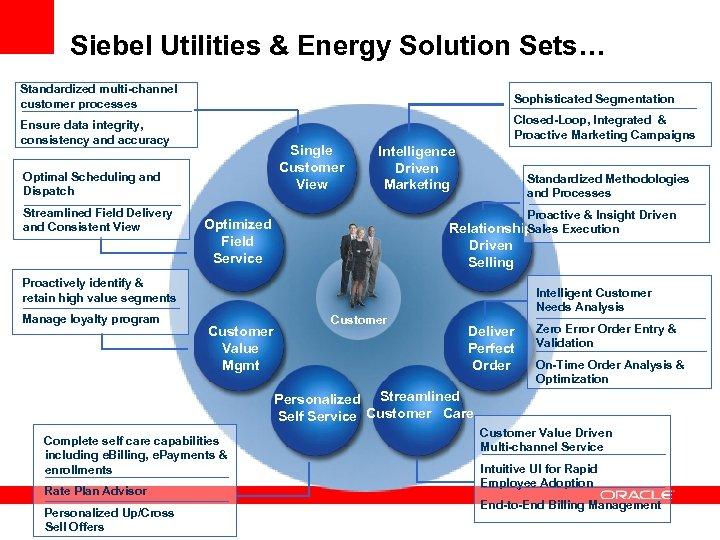 Siebel Utilities & Energy Solution Sets… Standardized multi-channel customer processes Sophisticated Segmentation Ensure data