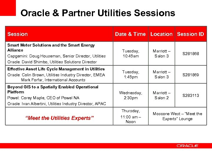Oracle & Partner Utilities Session Date & Time Location Session ID Smart Meter Solutions