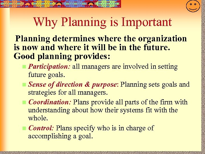 7 -12 Why Planning is Important Planning determines where the organization is now and