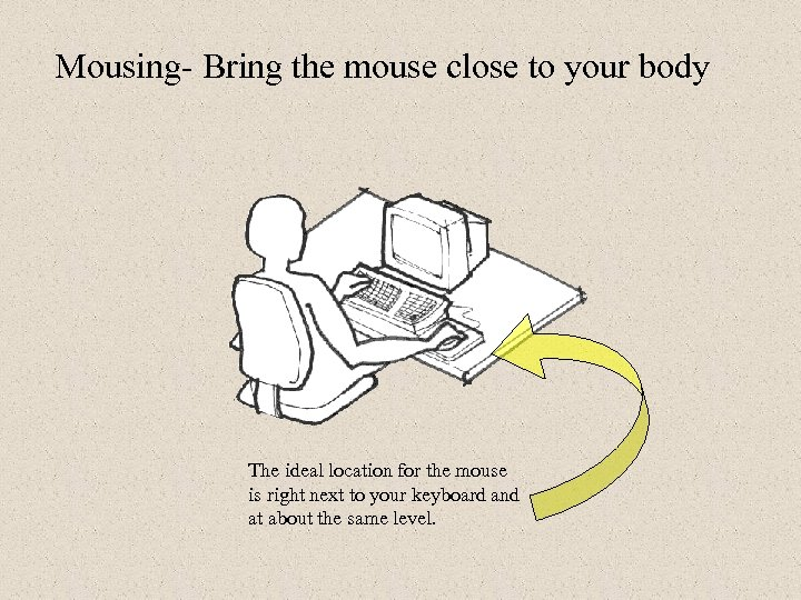 Mousing- Bring the mouse close to your body The ideal location for the mouse