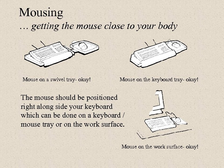 Mousing … getting the mouse close to your body Mouse on a swivel tray-