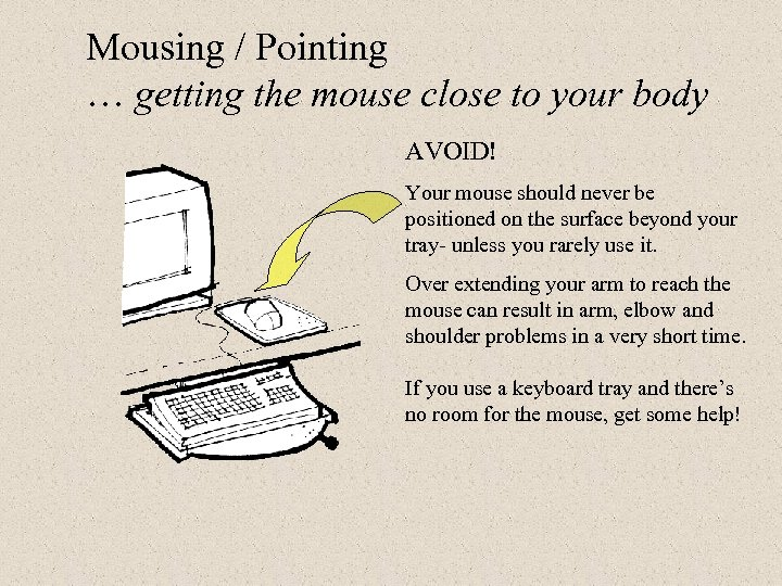 Mousing / Pointing … getting the mouse close to your body AVOID! Your mouse