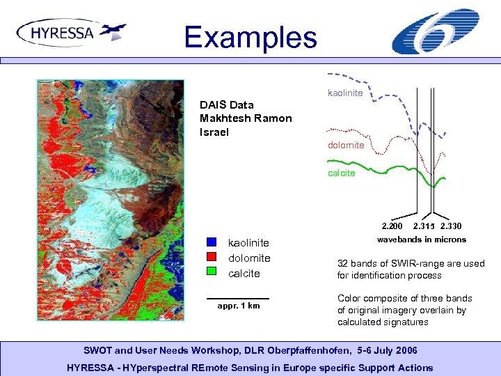 Examples N kaolinite DAIS Data Makhtesh Ramon Israel dolomite calcite 2. 200 kaolinite dolomite
