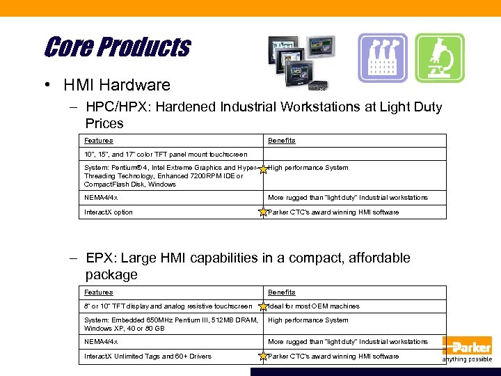 Core Products • HMI Hardware – HPC/HPX: Hardened Industrial Workstations at Light Duty Prices