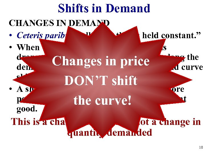 "Shifts in Demand CHANGES IN DEMAND • Ceteris paribus-""all other things held constant. """