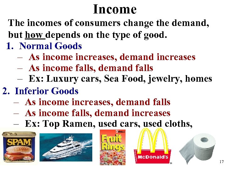 Income The incomes of consumers change the demand, but how depends on the type