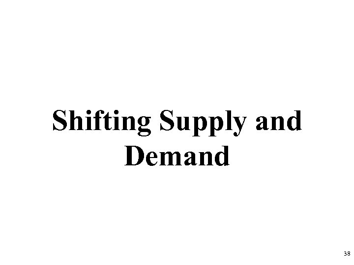 Shifting Supply and Demand 38