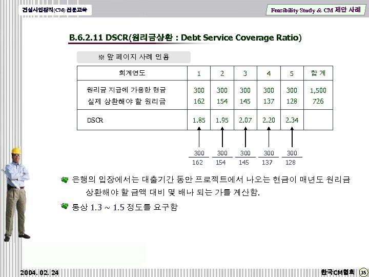 Feasibility Study & CM 제안 사례 건설사업관리(CM) 전문교육 B. 6. 2. 11 DSCR(원리금상환 :