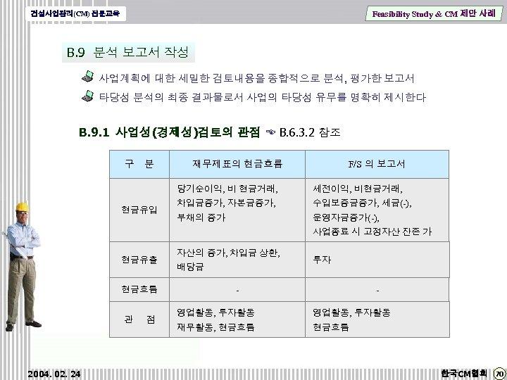 Feasibility Study & CM 제안 사례 건설사업관리(CM) 전문교육 B. 9 분석 보고서 작성 사업계획에