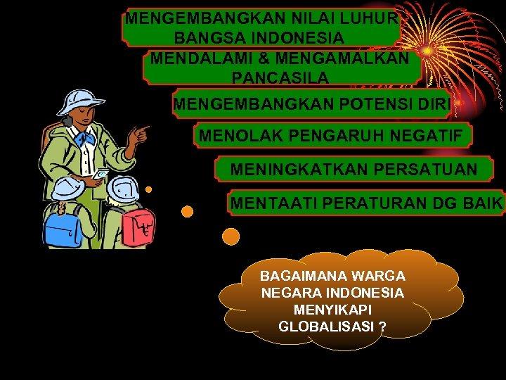 MENGEMBANGKAN NILAI LUHUR BANGSA INDONESIA MENDALAMI & MENGAMALKAN PANCASILA MENGEMBANGKAN POTENSI DIRI MENOLAK PENGARUH