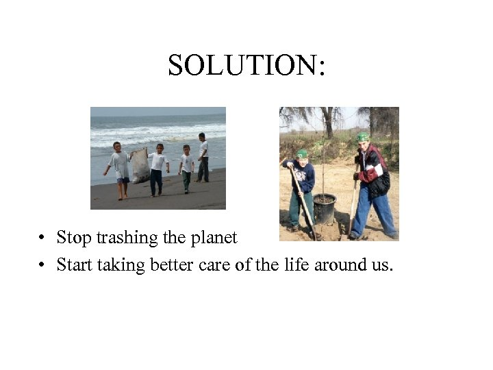 SOLUTION: • Stop trashing the planet • Start taking better care of the life