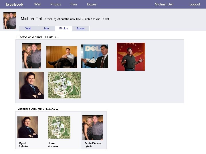 facebook Wall Photos Flair Boxes Michael Dell is thinking about the new Dell 7