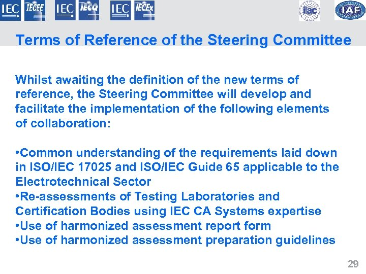 Terms of Reference of the Steering Committee Whilst awaiting the definition of the new