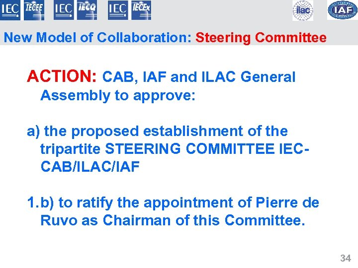 New Model of Collaboration: Steering Committee ACTION: CAB, IAF and ILAC General Assembly to