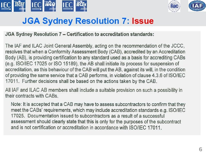 JGA Sydney Resolution 7: Issue 6