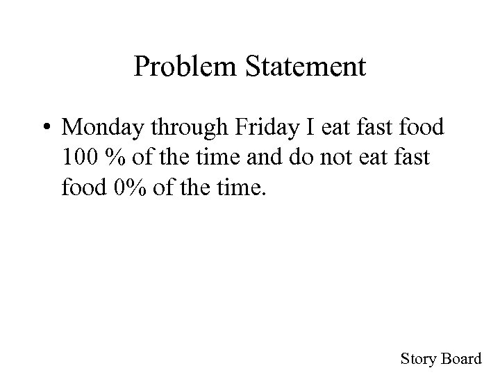 Problem Statement • Monday through Friday I eat fast food 100 % of the