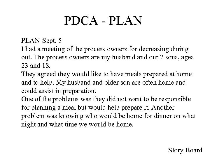 PDCA - PLAN Sept. 5 I had a meeting of the process owners for