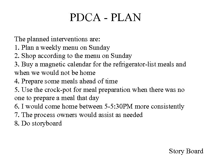 PDCA - PLAN The planned interventions are: 1. Plan a weekly menu on Sunday