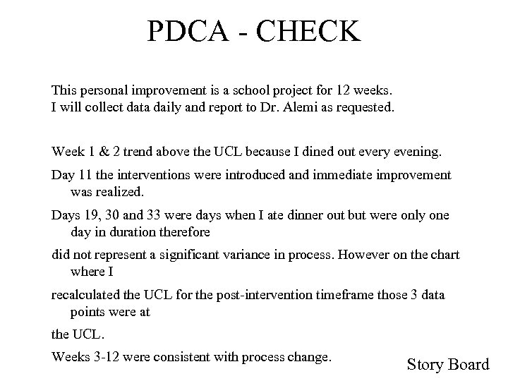 PDCA - CHECK This personal improvement is a school project for 12 weeks. I