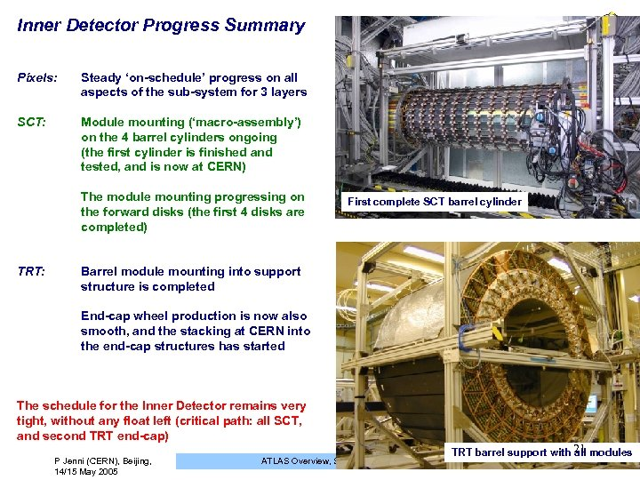 Inner Detector Progress Summary Pixels: Steady 'on-schedule' progress on all aspects of the sub-system