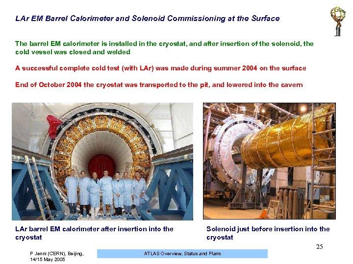 LAr EM Barrel Calorimeter and Solenoid Commissioning at the Surface The barrel EM calorimeter