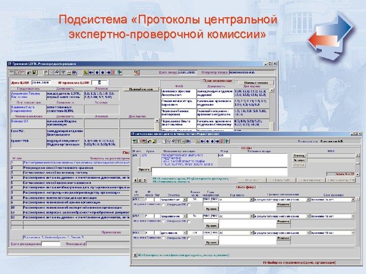 Подсистема «Протоколы центральной экспертно-проверочной комиссии»