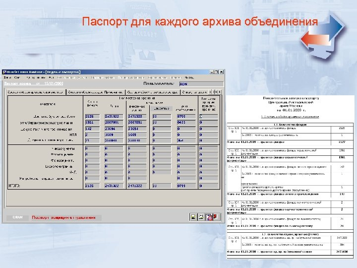 Паспорт для каждого архива объединения