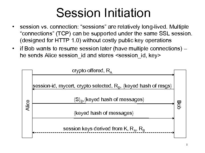 """Session Initiation • session vs. connection: """"sessions"""" are relatively long-lived. Multiple """"connections"""" (TCP) can"""