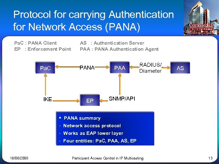 Protocol for carrying Authentication for Network Access (PANA) Pa. C : PANA Client EP