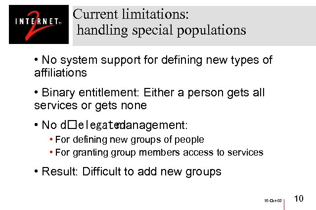 Current limitations: handling special populations • No system support for defining new types of