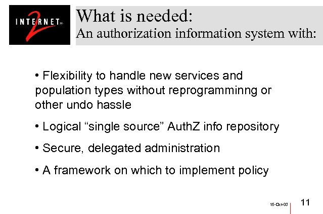 What is needed: An authorization information system with: • Flexibility to handle new services
