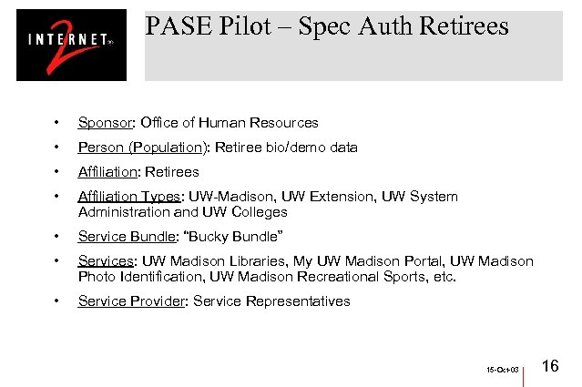 PASE Pilot – Spec Auth Retirees • Sponsor: Office of Human Resources • Person