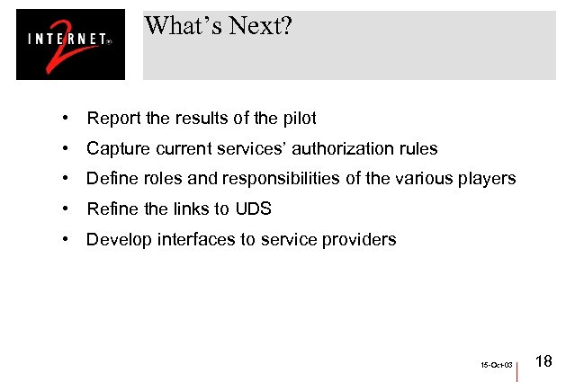 What's Next? • Report the results of the pilot • Capture current services' authorization