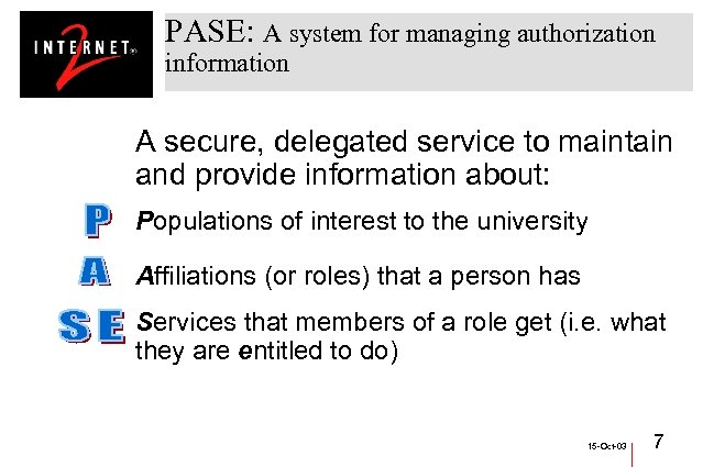 PASE: A system for managing authorization information A secure, delegated service to maintain and