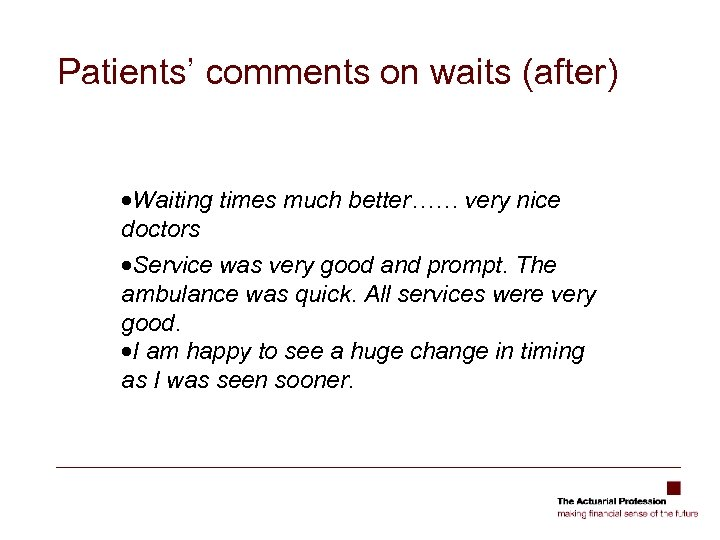Patients' comments on waits (after) ·Waiting times much better…… very nice doctors ·Service was