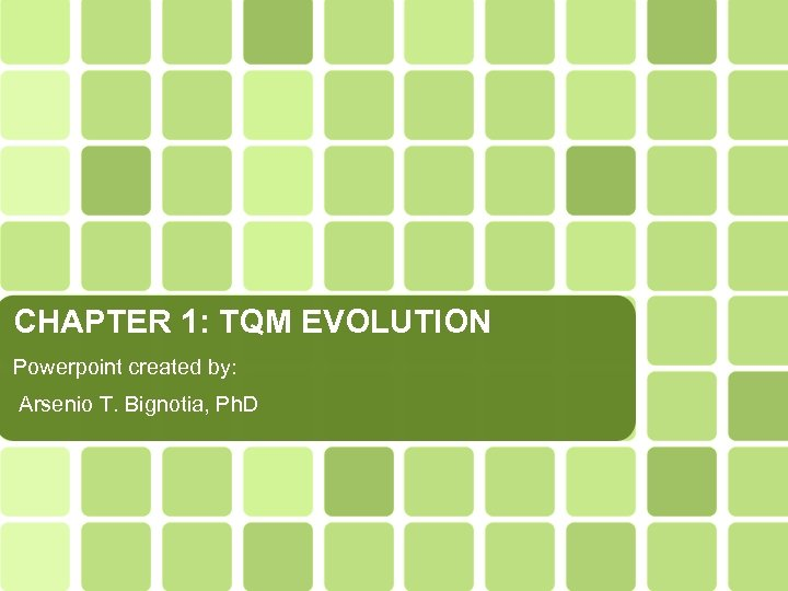 CHAPTER 1: TQM EVOLUTION Powerpoint created by: Arsenio T. Bignotia, Ph. D