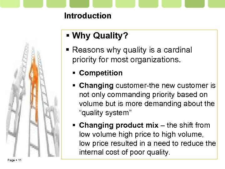 Introduction Why Quality? Reasons why quality is a cardinal priority for most organizations. Competition
