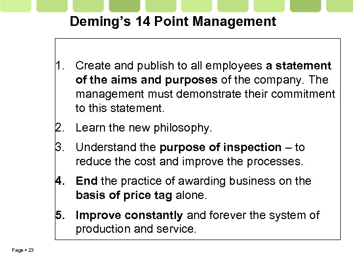 Deming's 14 Point Management 1. Create and publish to all employees a statement of