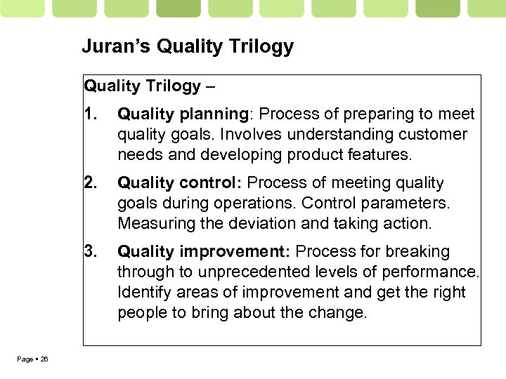 Juran's Quality Trilogy – 1. 2. Quality control: Process of meeting quality goals during