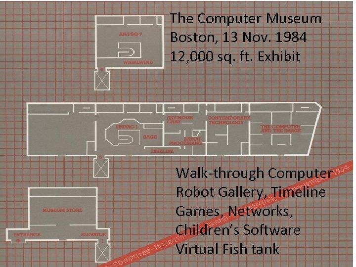 The Computer Museum Boston, 13 Nov. 1984 12, 000 sq. ft. Exhibit Walk-through Computer