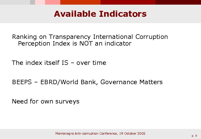 Available Indicators Ranking on Transparency International Corruption Perception Index is NOT an indicator The
