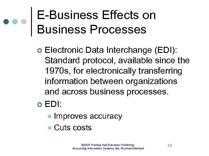 E-Business Effects on Business Processes Electronic Data Interchange (EDI): Standard protocol, available since the