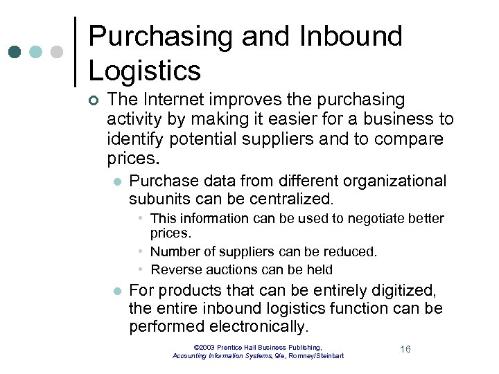 Purchasing and Inbound Logistics ¢ The Internet improves the purchasing activity by making it