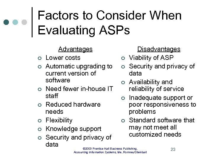 Factors to Consider When Evaluating ASPs ¢ ¢ ¢ ¢ Advantages Disadvantages Lower costs